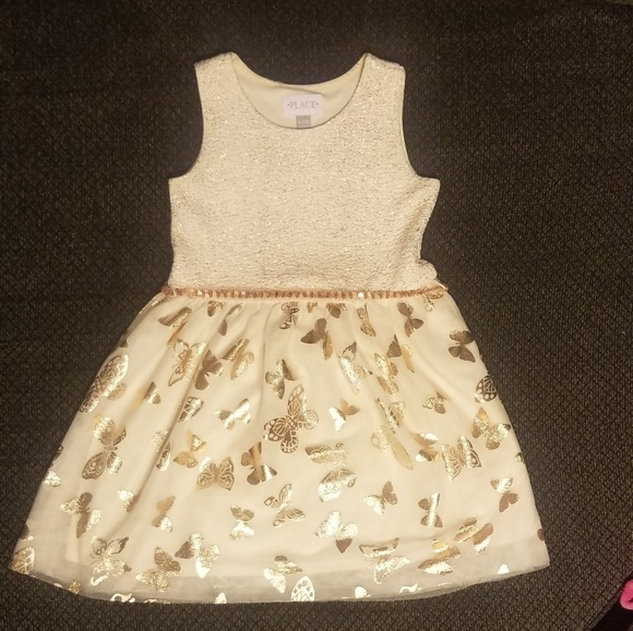 Children's Place Other - Girls' Sleeveless Pleated Gold Dress